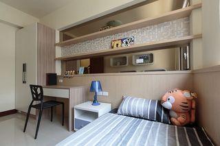 浅咖色宜家风儿童房 床头隔断设计
