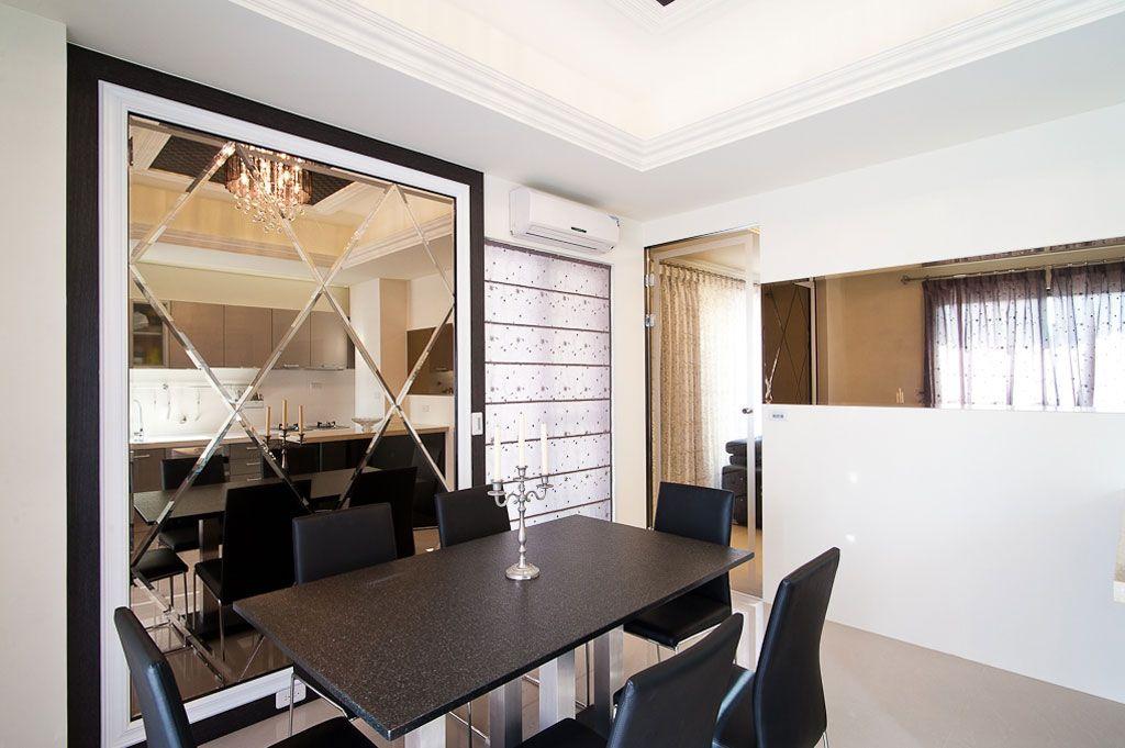 现代风餐厅 菱形镜面背景墙欣赏