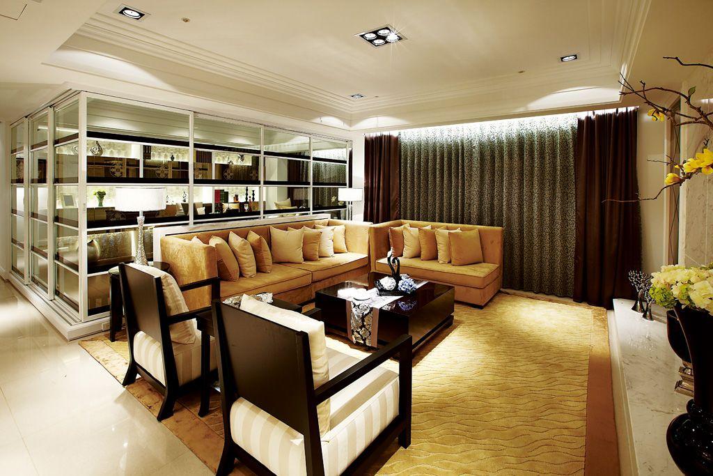 后现代风格客厅地毯装饰图