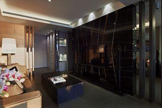 现代风客厅 黑色大理石电视背景墙设计