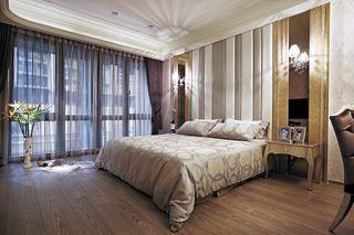 新古典卧室 竖条软包背景墙装饰图