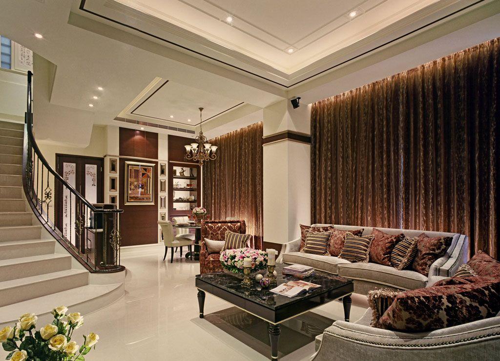 新古典风别墅 客厅窗帘效果图