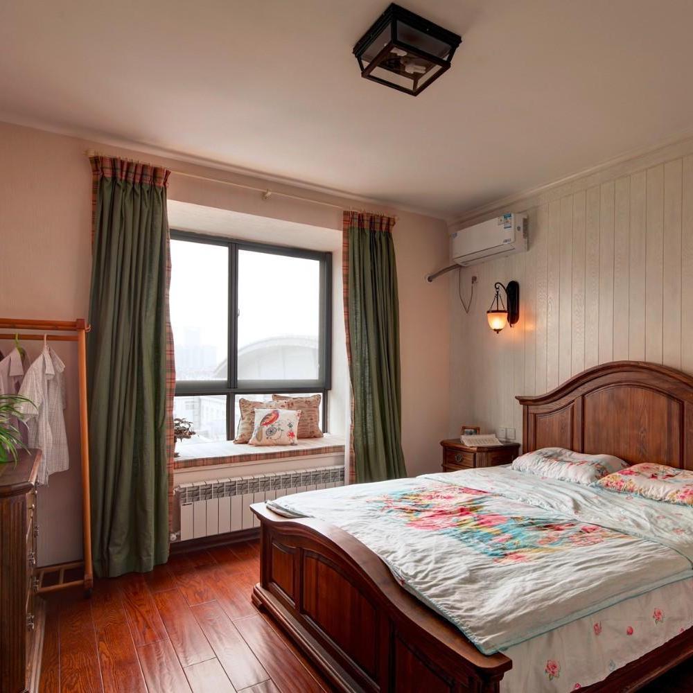 休闲乡村美式卧室窗帘效果图