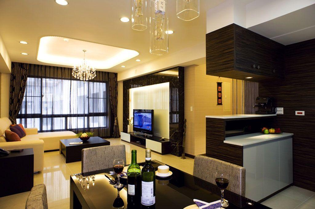 时尚沉稳现代客厅整体效果图