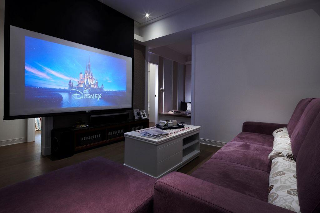 现代美式小客厅 家庭影院效果图