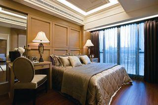 复古简欧风卧室 木质背景墙欣赏
