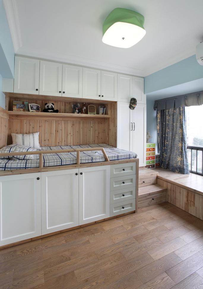 实木简约美式 儿童房收纳床设计