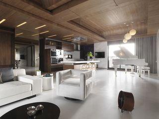 现代简约公寓实木吊顶效果图