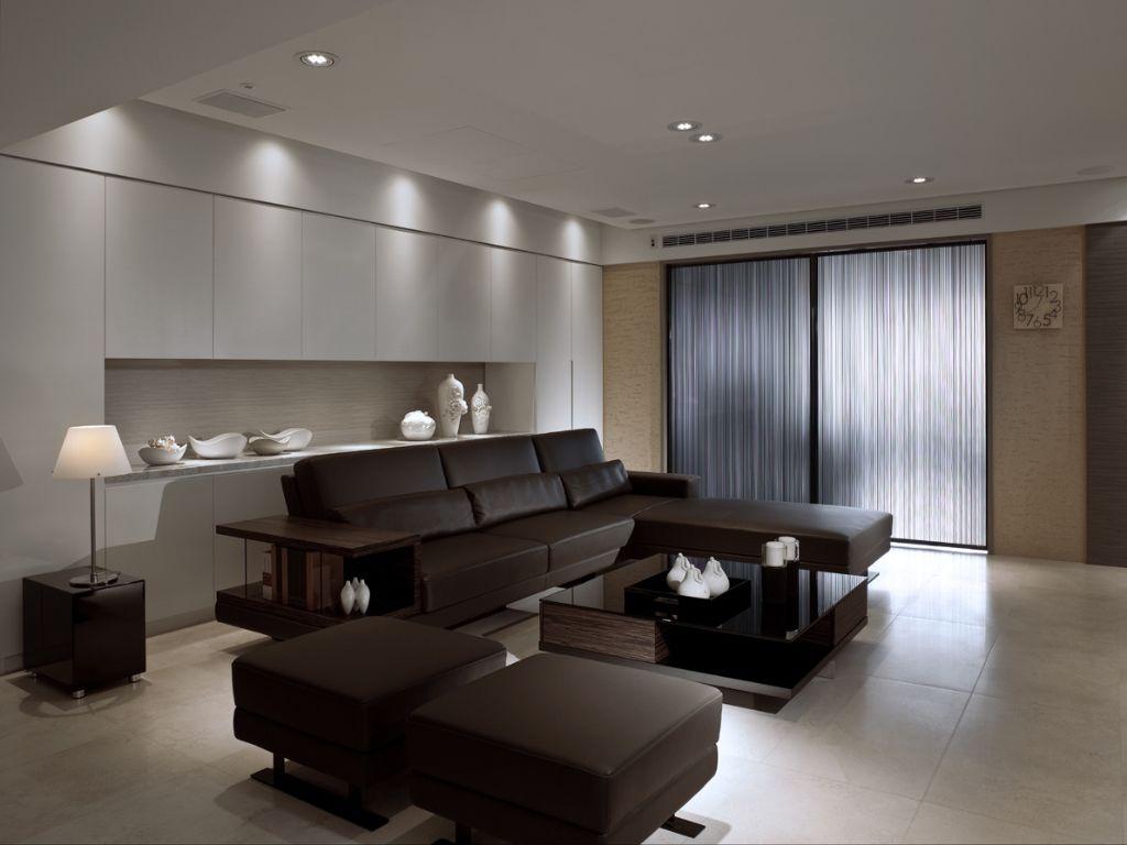 沉稳现代客厅沙发摆放效果图
