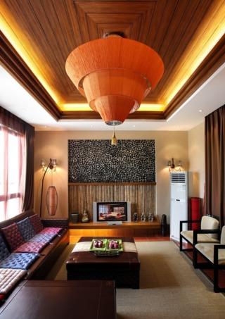 异域东南亚风情客厅吊顶设计