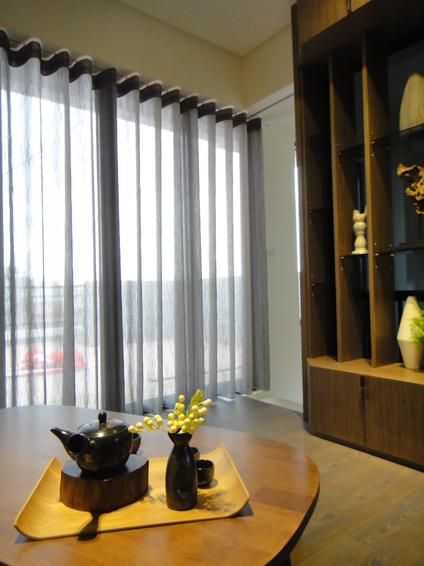 现代灰色系休闲室窗帘效果图