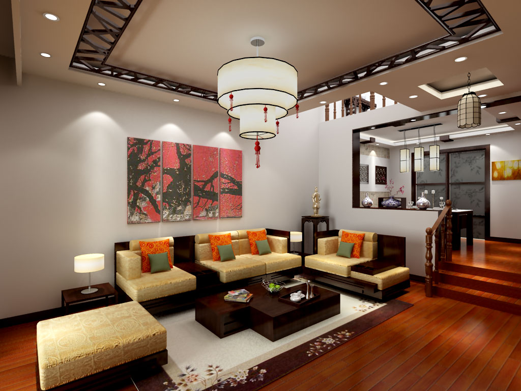 古典中式风客厅家具装饰图