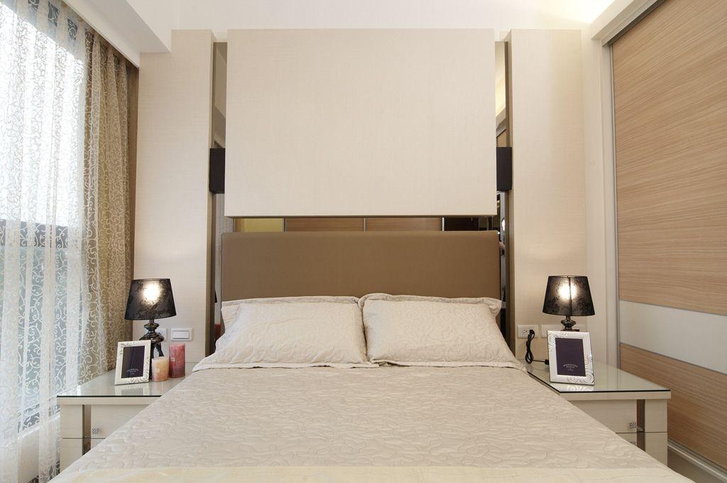 裸色系简约风卧室背景墙效果图