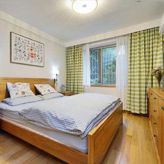 小清新日式卧室格子窗帘设计