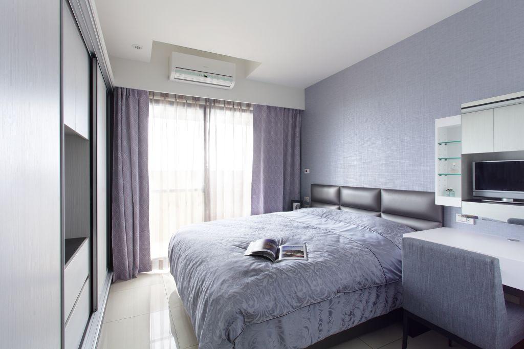 浪漫简约风卧室紫色窗帘效果图