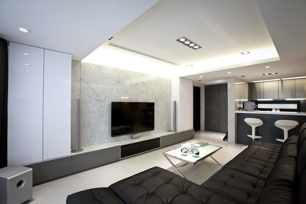 黑白配现代简约客厅效果图
