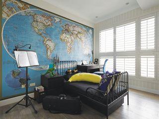 现代家装儿童房 地图背景墙装饰图