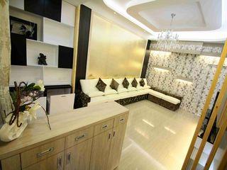 文艺现代客厅印花墙纸装饰图