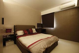 咖色系极简宜家风卧室效果图