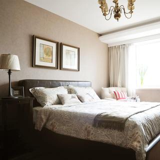 复古美式 浅咖色卧室效果图