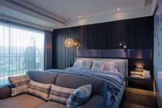 深色系简约后现代 卧室床头背景墙欣赏
