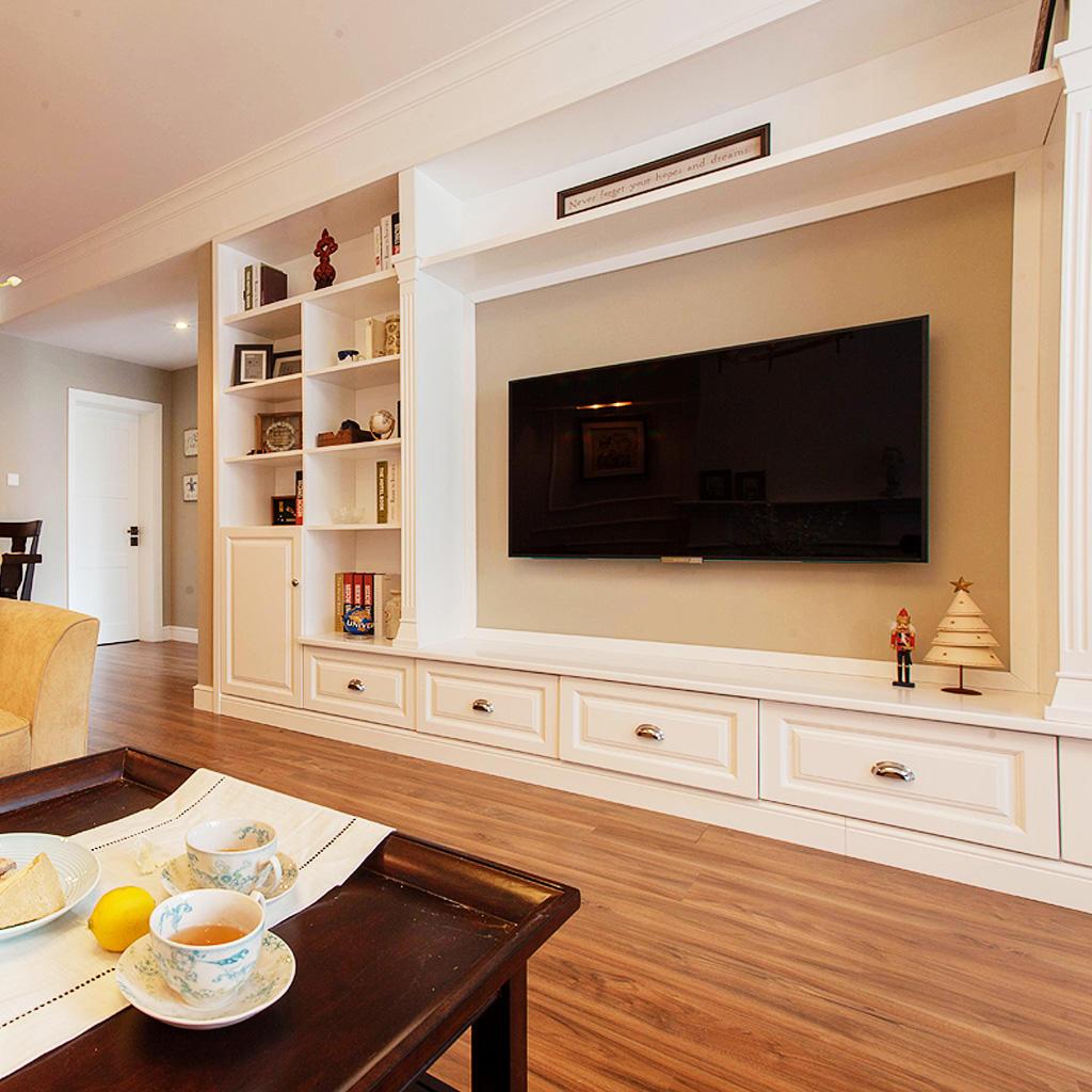 现代美式客厅 电视背景墙效果图