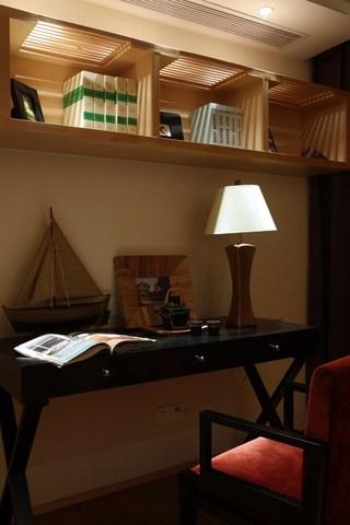 简中式实木书架效果图