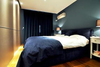 深蓝色装饰现代卧室效果图