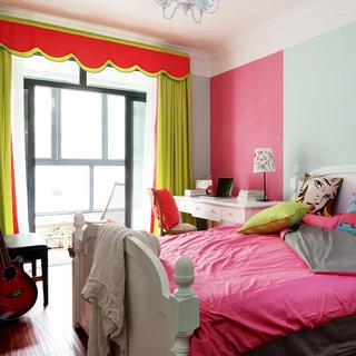 清新美式卧室窗帘装修图