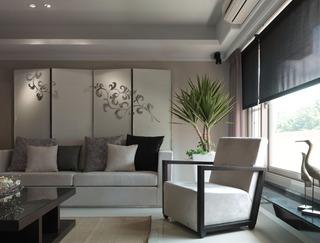 现代日式客厅屏风装饰图