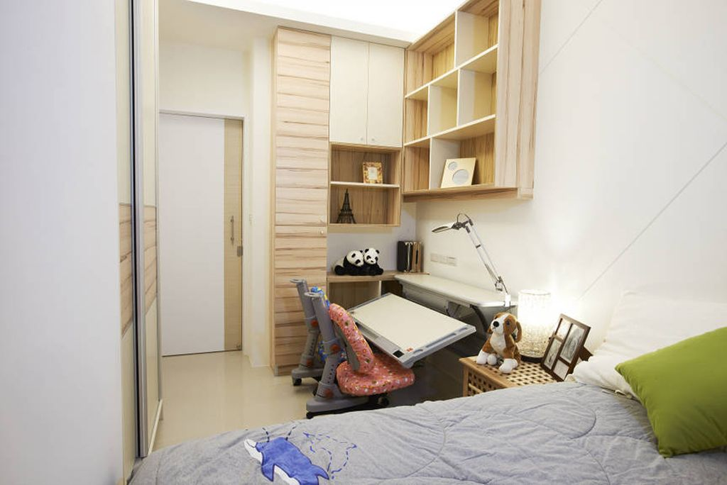 简约创意卧室墙面置物柜设计