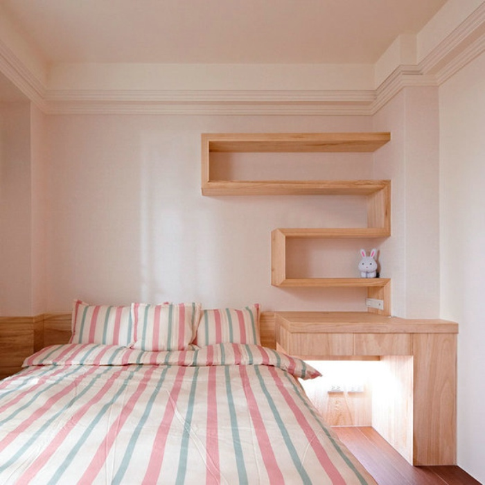 宜家日式小卧室墙面隔断效果图