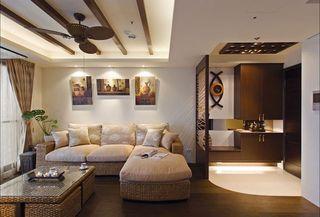 美式风格玄关客厅隔断装饰图