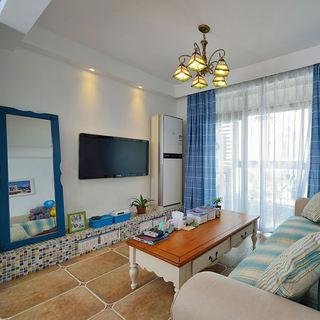 蓝色地中海风格客厅装饰图