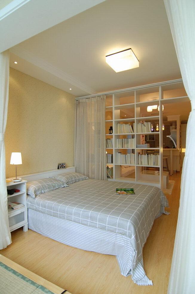 唯美现代简约一居卧室装修图