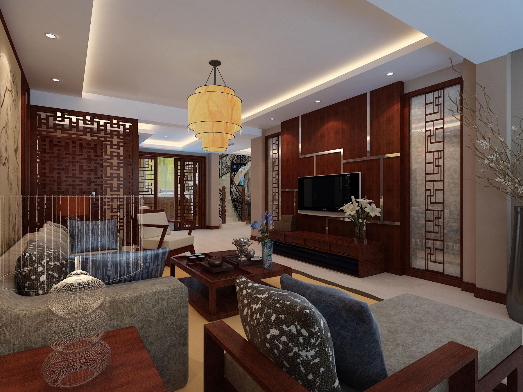 现代中式结合客厅家装图