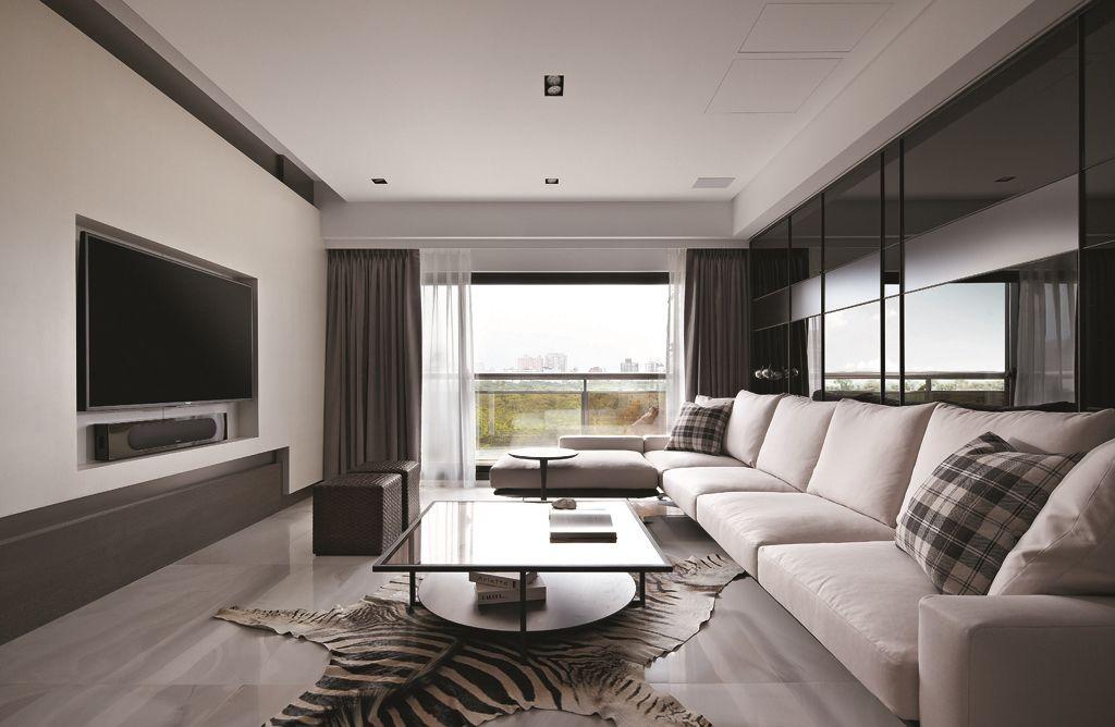 素色现代家居客厅装修效果图