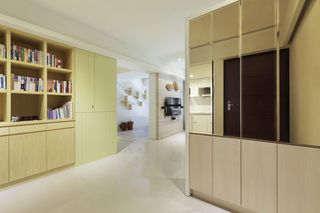 唯美现代家居黄色书柜设计