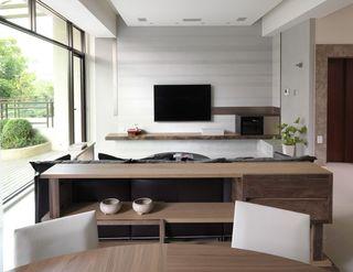 原木日式家装 客厅电视背景墙设计