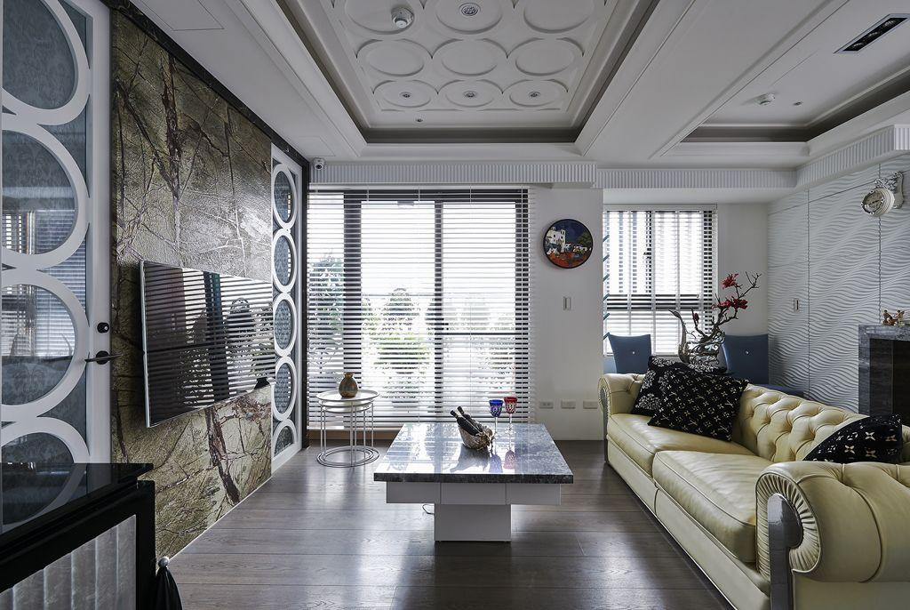 简约风格客厅百叶窗效果图