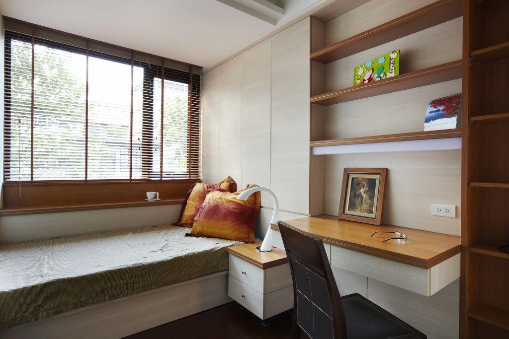 实木美式榻榻米小卧室效果图