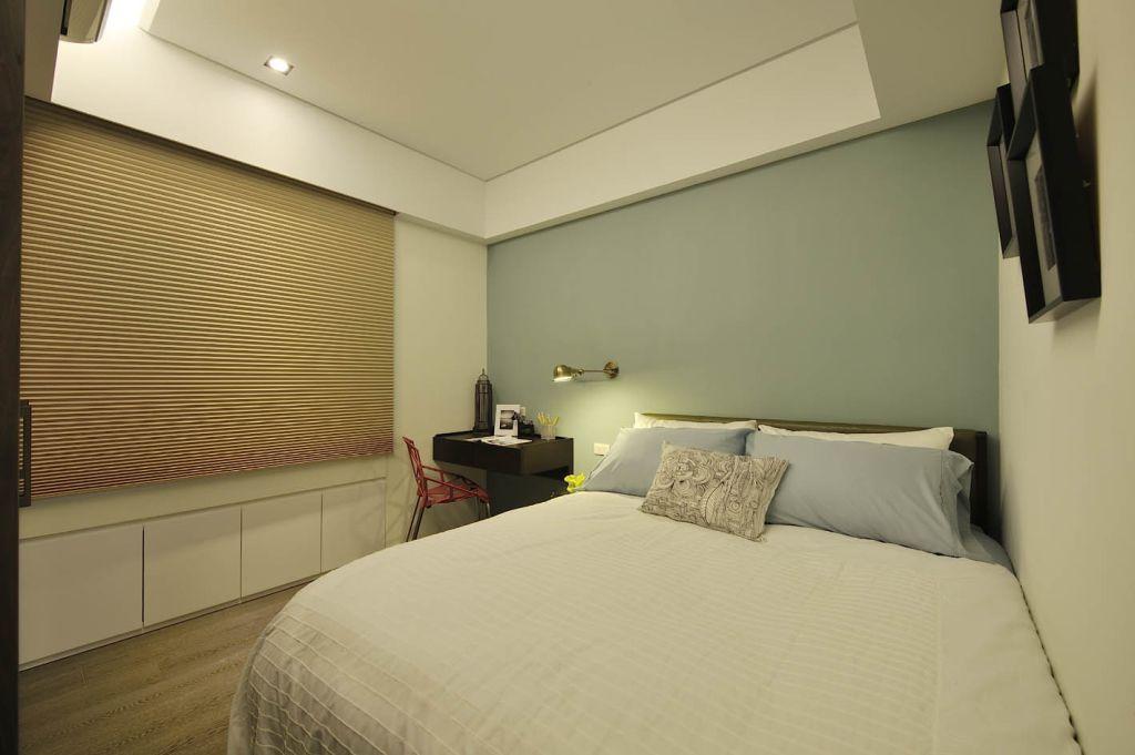 清新简约风卧室 浅绿色背景墙欣赏