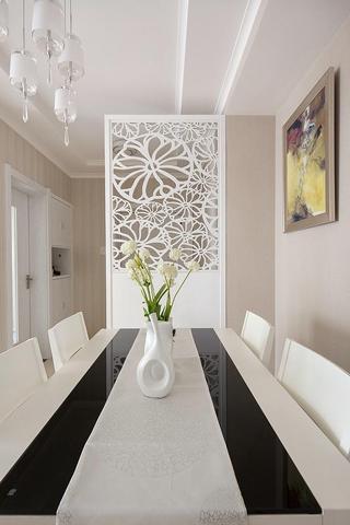 现代简约餐厅 镂空雕花隔断效果图