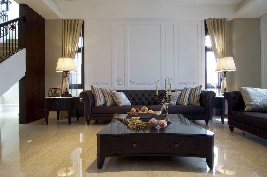 简欧风格复式客厅家具装饰图