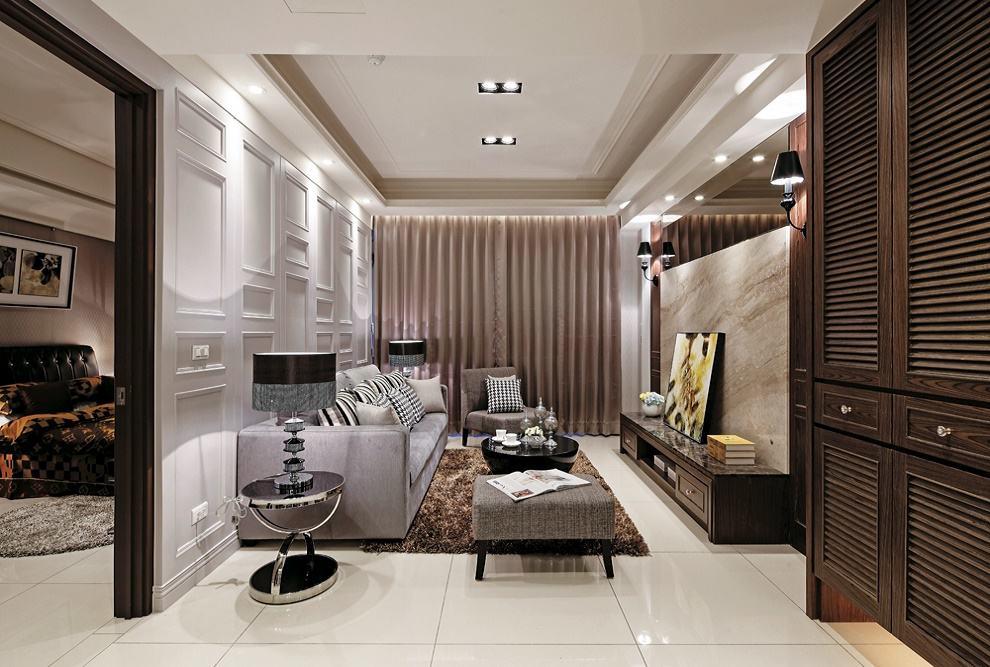 现代简约三居客厅家装效果图