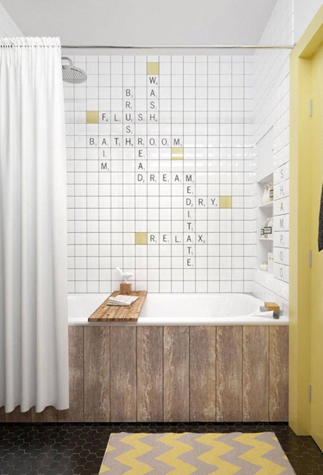 清新文艺北欧风 浴室背景墙设计