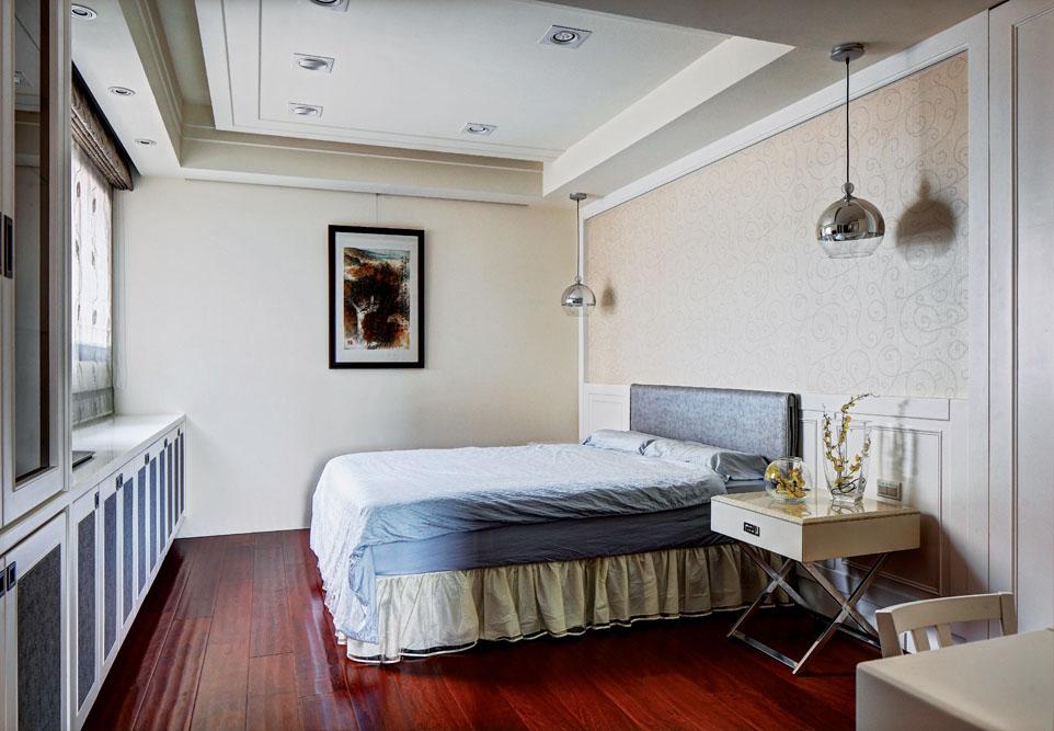 现代中式风 卧室红木地板装饰图