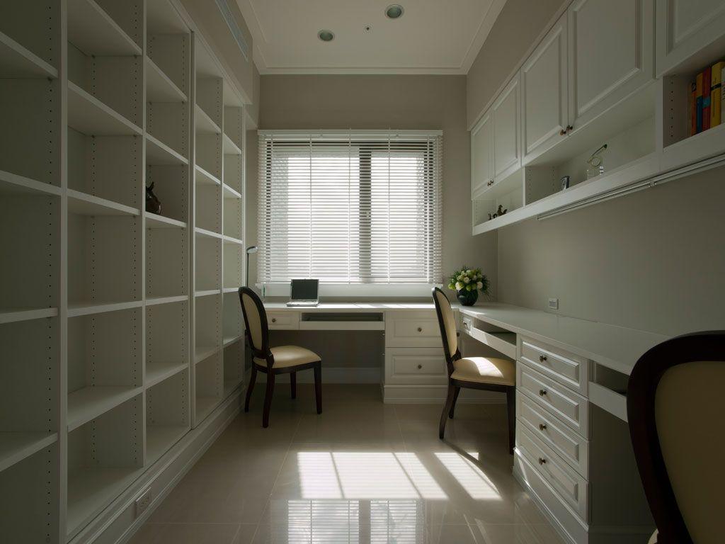 白色休闲美式书房装饰大全