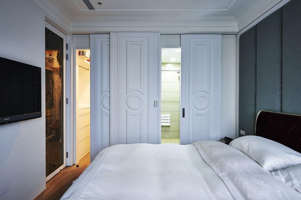 简欧风卧室 白色隐形门效果图