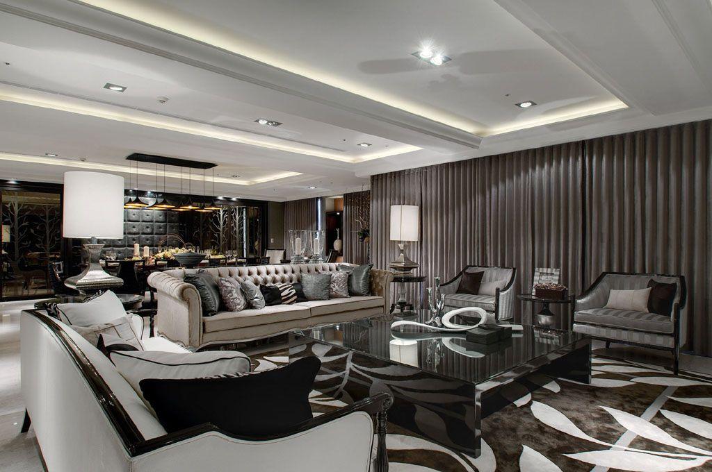 新古典风格客餐厅吊顶设计